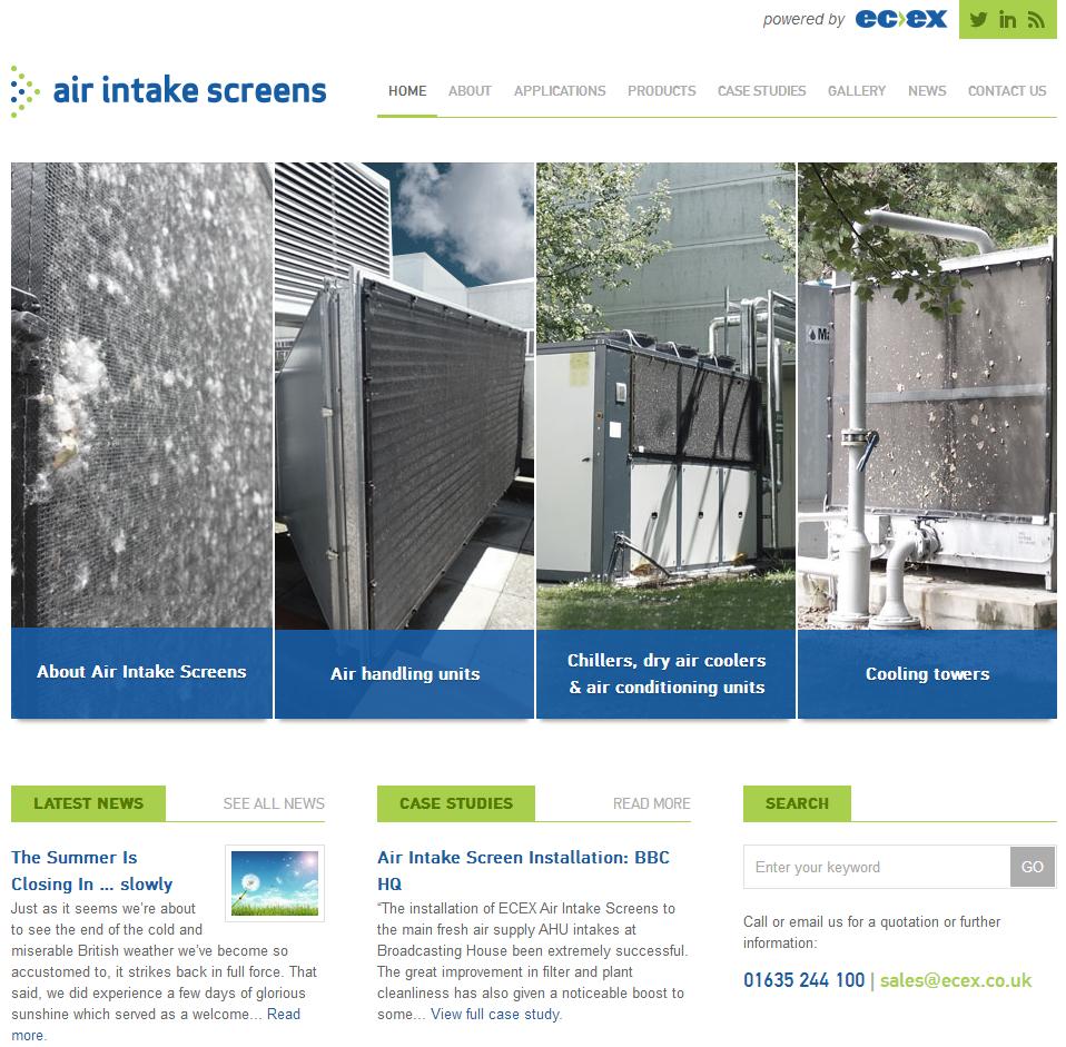 Air intake screens